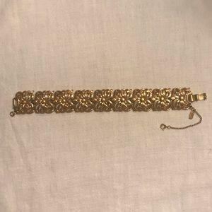 Vintage Monet Chunky Gold Floral Bracelet